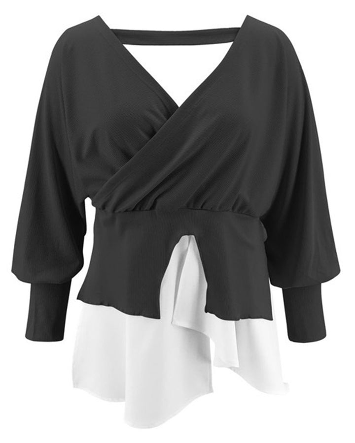 Two Tone Tiered Layer Ribbed Split Hem Asymmetrical Sweater gallery 7
