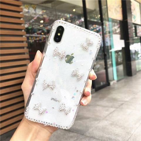 Little Bowknot Rhinestone Clear Transparent Phone Case for Samsung gallery 9