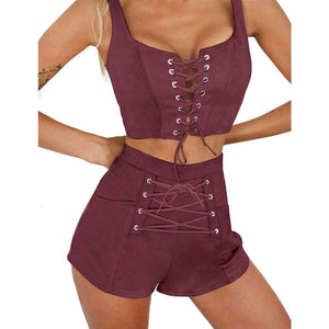 Women's Front Strappy Cropped Top and Shorts Set