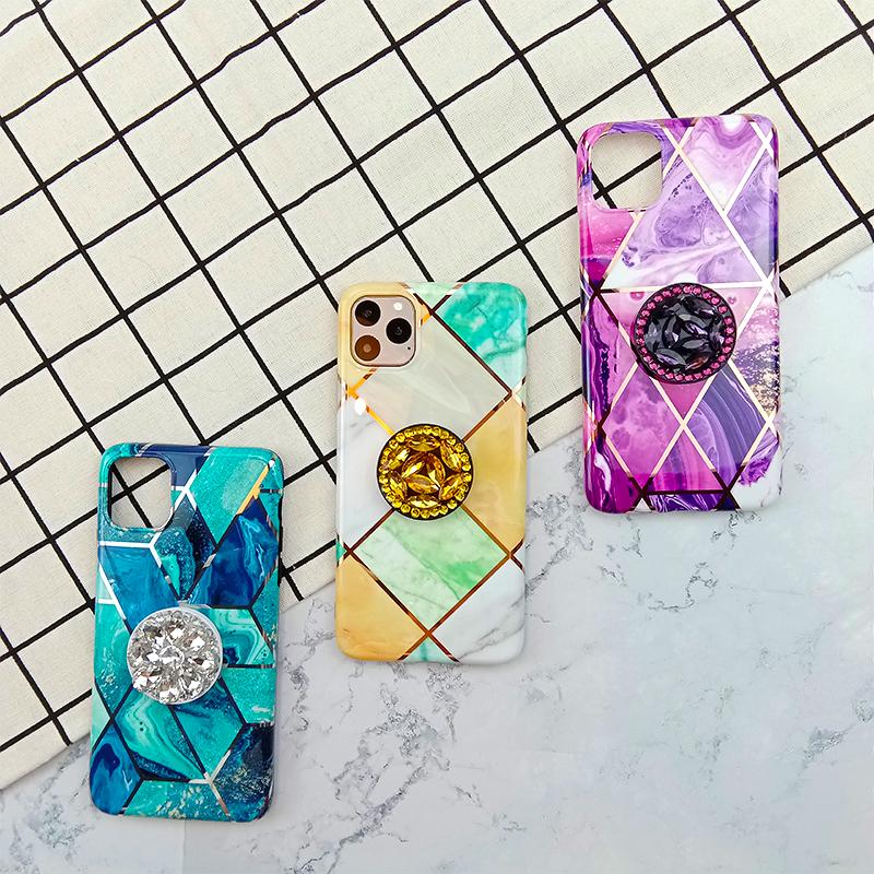 Asymmetric Prism Pattern Phone Cases With Rhinestone Ring Stand For All iPhone