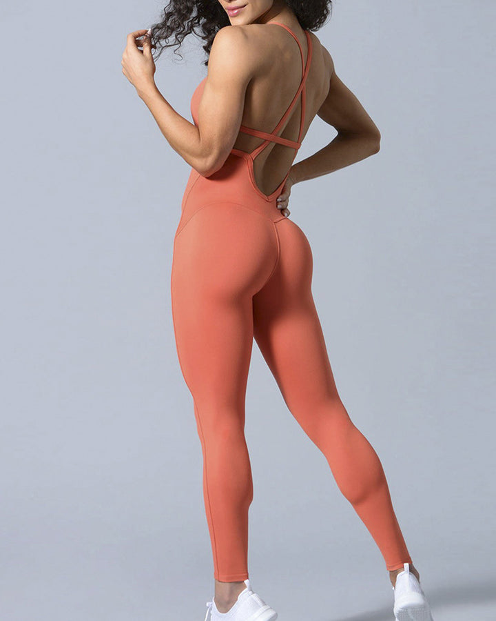 Criss Cross Cut Out Back Sports Jumpsuit gallery 10