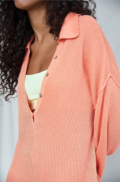 Button Up Pocket Side Rib-Knit Sweater Romper gallery 7