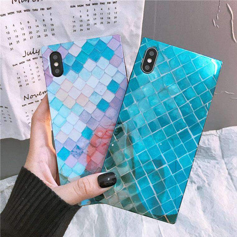 Creative Scale Pattern Square Full Cover iPhone Case