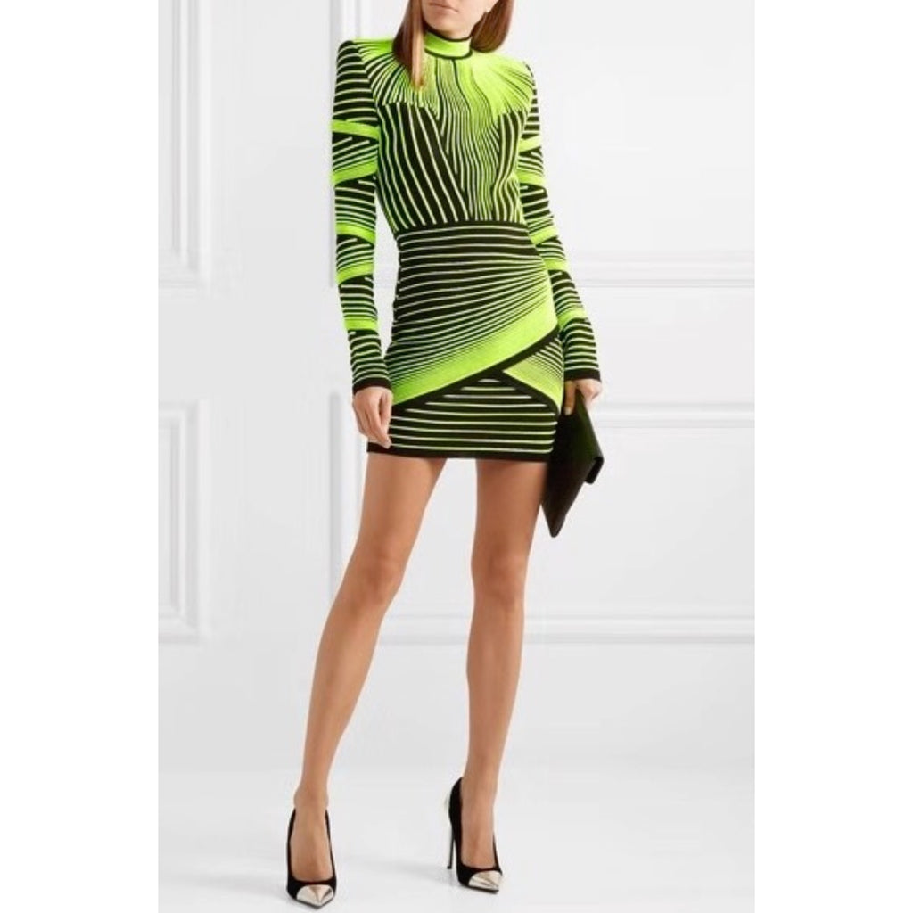 Stylish 2 Colors Abstract Irregular Stripes Turtleneck Bodycon Dress