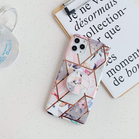 Rhombus Stitching Marble Phone Case for Samsung with Phone Holder gallery 10