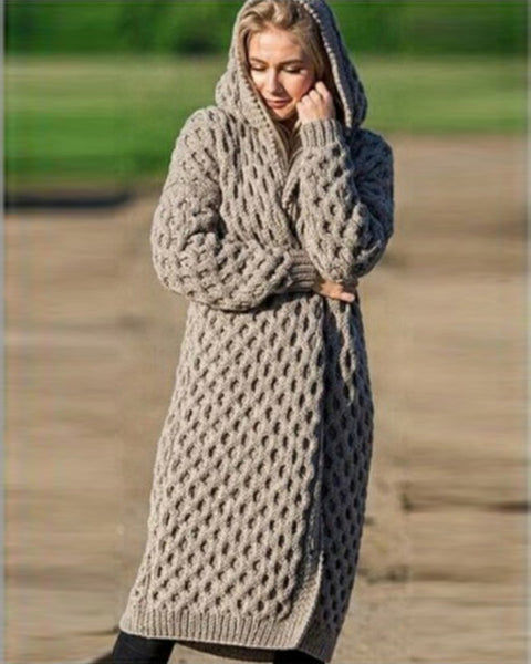 Cable Knit Hooded Solid Coat
