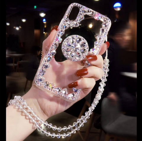Glitter Crystal Stud Phone Case for Samsung with Phone Holder and Hand Strap gallery 3