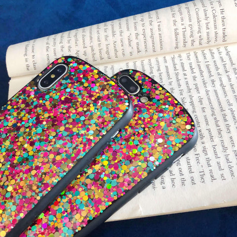 Glitter Colored Sequins Detail Phone Case for Samsung gallery 8