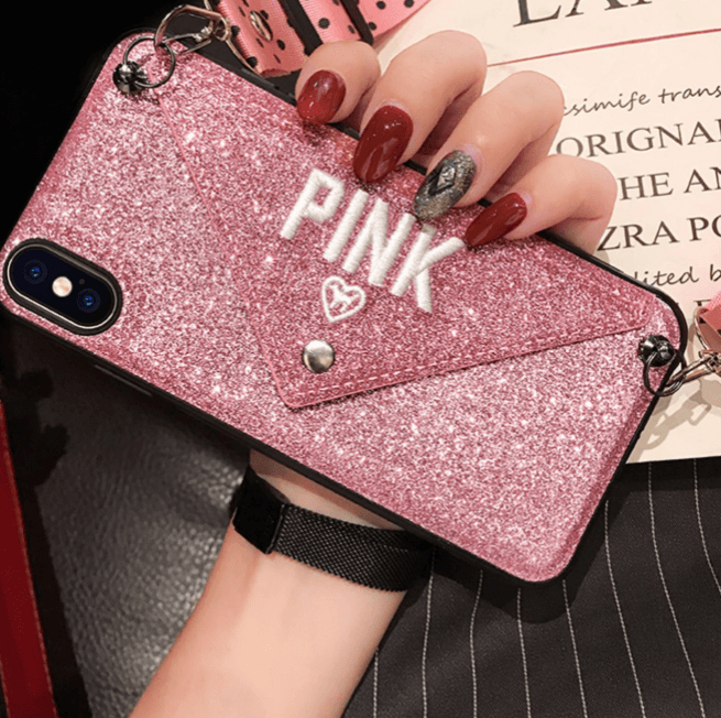 Letter Shaped Shoulder Bag Style iPhone Case with Hand Strap