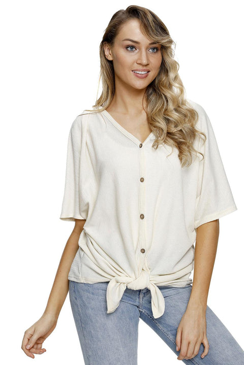 White Dolman Buttoned Front Top with Tie gallery 5