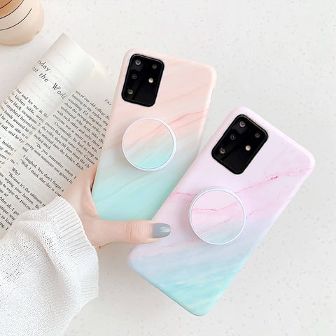 Gradient Shockproof Marble Phone Case for Samsung with Phone Holder gallery 1