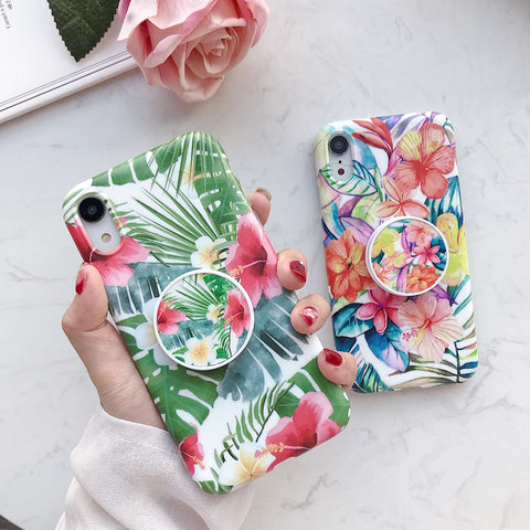 Chic Flowers & Leaves iPhone Case with Phone Holder