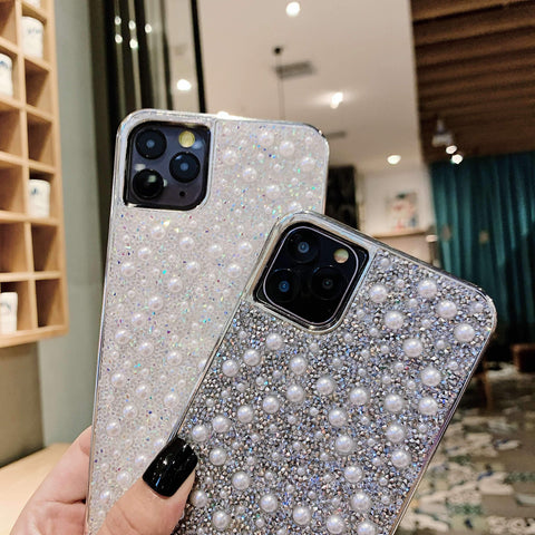 Sparkle Crystal Pearl Stud Phone Case for Samsung with Hand Strap gallery 5