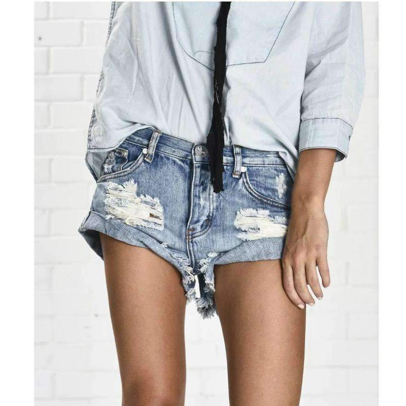 Medium And High Waist Hole Washed Denim Shorts