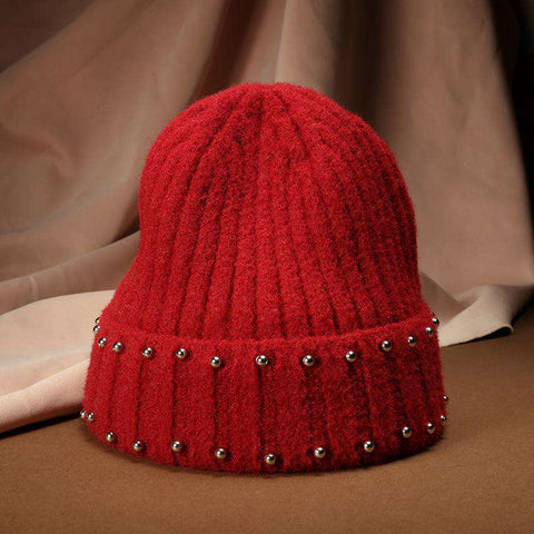 Punk Style Beaded Knit Beanie Hat gallery 5