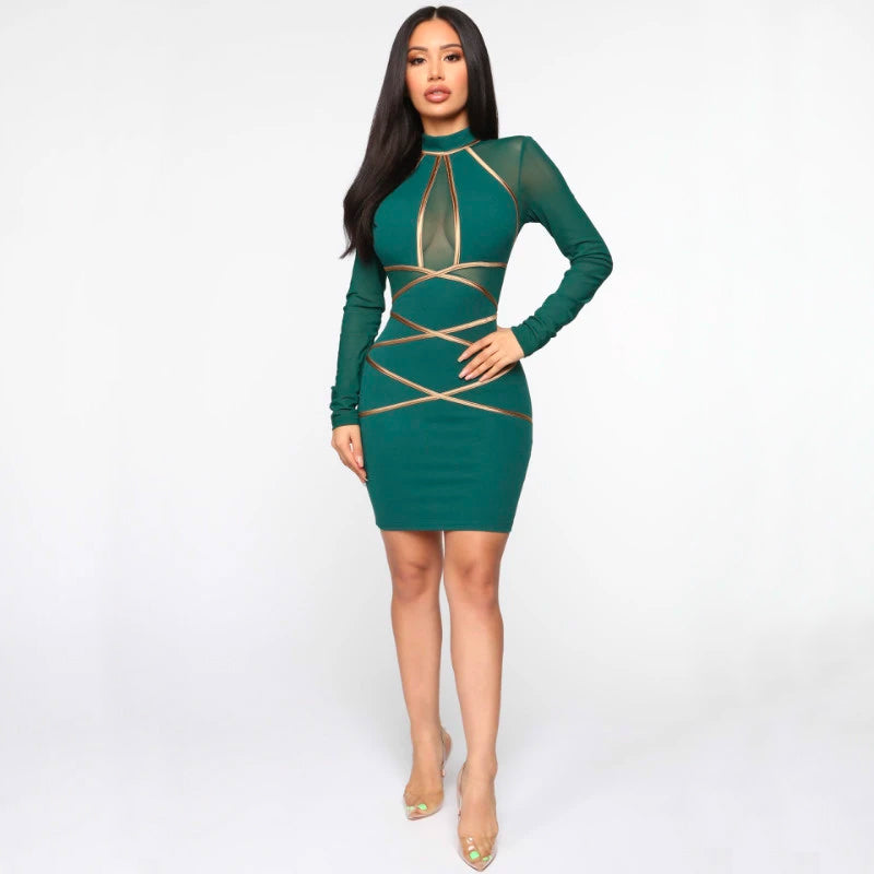 Long Sleeve Gold Stripe Detail Crew Neck Bodycon Dress