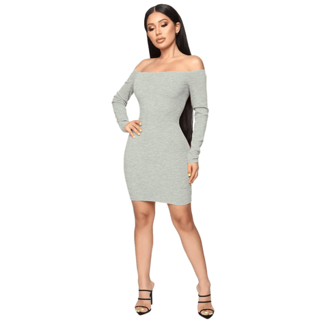 Shape Off Shoulder Ribbed Knitted Bodycon Dress gallery 1