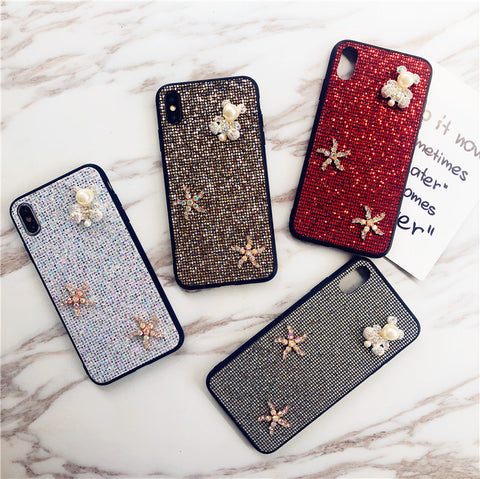 Bear & Starfish Pearl Deco Full Glittering Phone Case for Samsung gallery 9