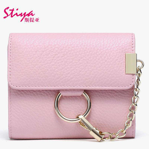Korean Style Short Sized Cow Leather Wallet With Chain And Ring Elements gallery 6