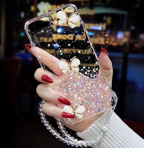 Sparkle Liquid Rhinestone Butterfly Phone Case for Samsung gallery 5