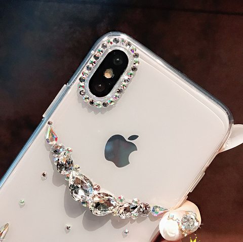 Asymmetric Rhinestone Clear Transparent Phone Case for Samsung gallery 5