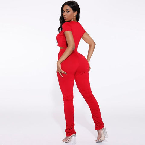 Round Neck Ruched Side Drawstring Waist Top & Pants Set gallery 17