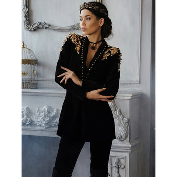 Gold Embroidery Slim Fitted Fine Blazer