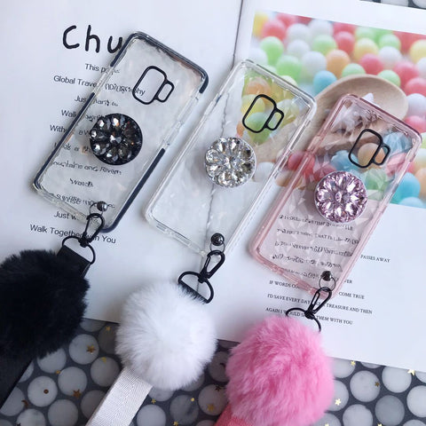 Diamond-shaped Phone Case for Samsung with Phone Holder and Pom-pom gallery 2