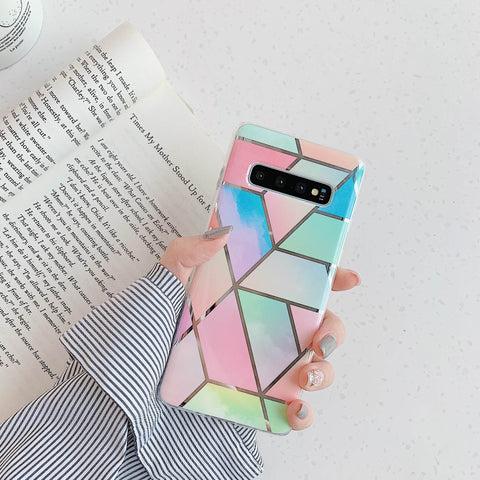 Color Block Electroplate Rhombus Marble Phone Case for Samsung gallery 8