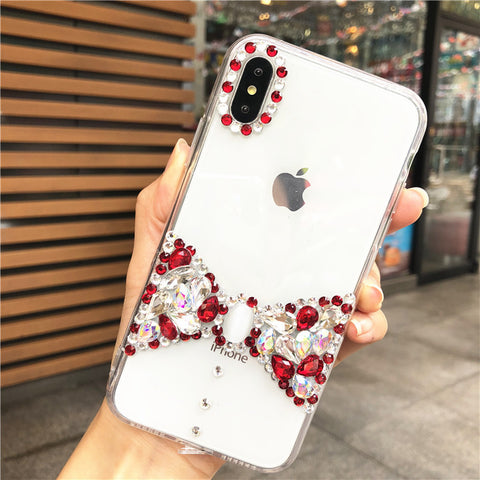 Bowknot Rhinestone Clear Transparent Phone Case for Samsung gallery 7
