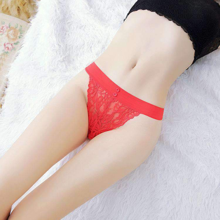 Floral Lace T Back With High Leg Panty (3Pcs)