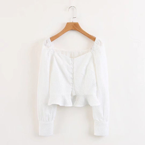 Embroidered Hollowed Out Square Collar Button Down Shirt gallery 5