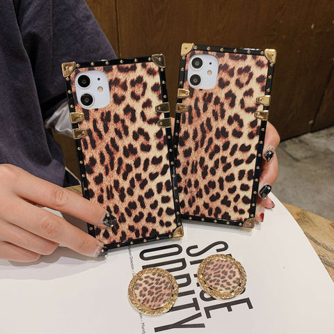 Leopard Print Rivet Deco Square Phone Case for Samsung with Phone Holder gallery 6