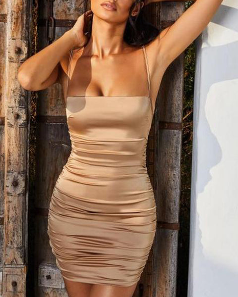 Solid Color Satin Spaghetti Strap Ruched Backless Bodycon Dress