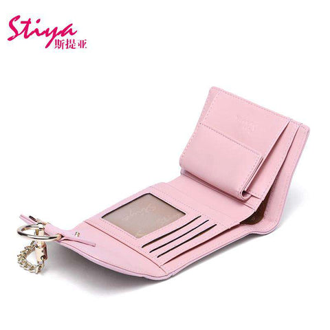 Korean Style Short Sized Cow Leather Wallet With Chain And Ring Elements gallery 10