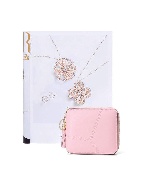 All-Match Pink Cow Leather Short Sized Minimalism Wallet With Zipper gallery 4