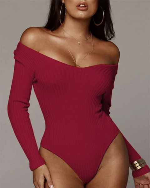 Solid Ribbed Scoop Neck Long Sleeve Bodysuit