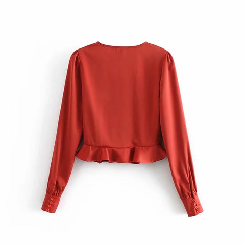 V-neck Long Sleeves Button Down Peplum Style Shirt gallery 4