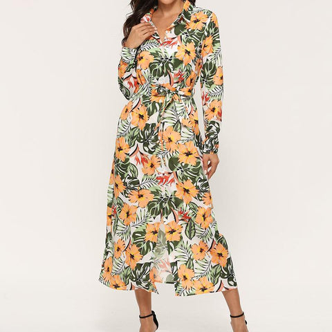 Floral Print Button Up Tied Waist Midi Dress
