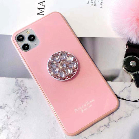 Solid Color iPhone Case with Diamond Decorate Phone Holder and Pom-pom