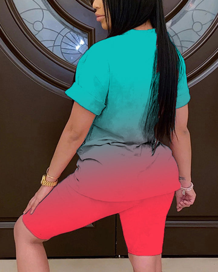 Ombre Short Sleeve Top & Shorts Set gallery 6