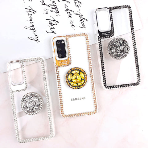 Luxury Crystal Stud Edge Phone Case for Samsung with Phone Holder and Hand Strap gallery 2