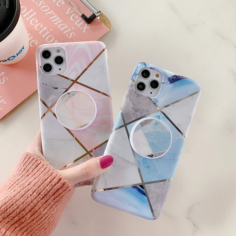 Stitching Plaid Marble Phone Case for Samsung with Phone Holder gallery 3