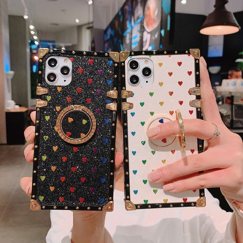 Glittering Little Heart Rivet Deco Square Phone Case for Samsung with Phone Holder gallery 2