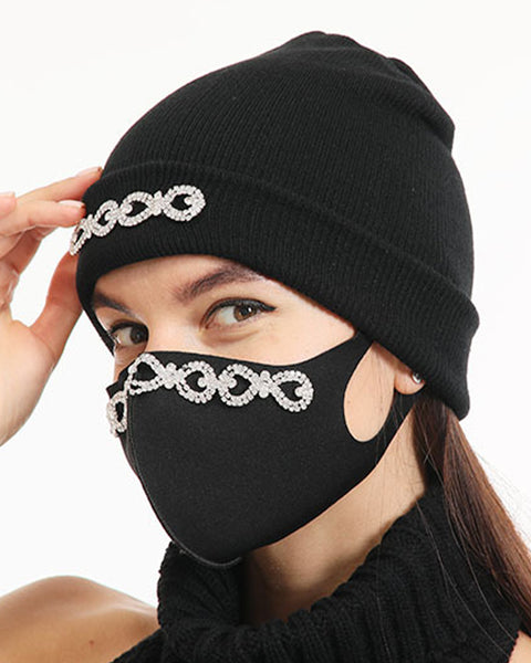 2pcs Rhinestone & Sequin Decor Face Mask & Beanie gallery 10