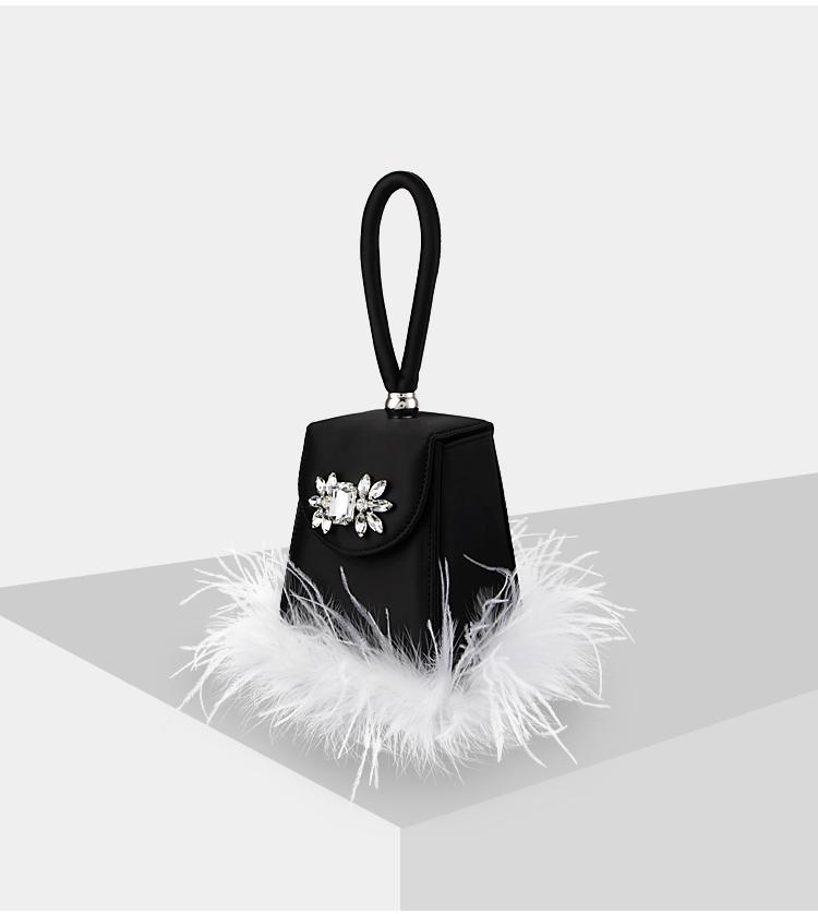 Candy Box Rhinestone Feather Detail Cube Bag