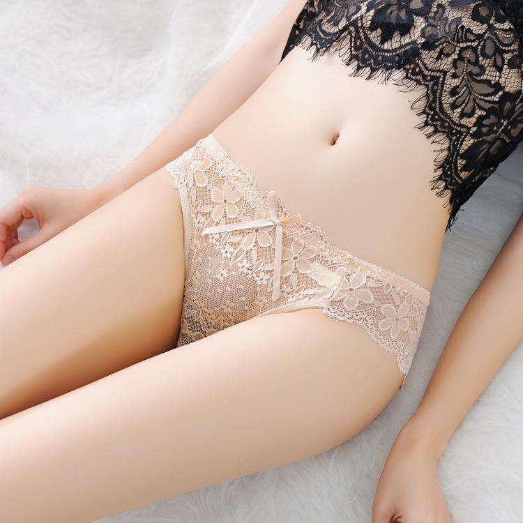 Lace Transparent with Ruched Side Panty (3Pcs)