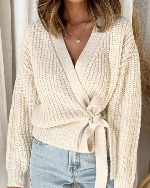 Drop Shoulder Chunky Knit Wrap Knot Cardigan