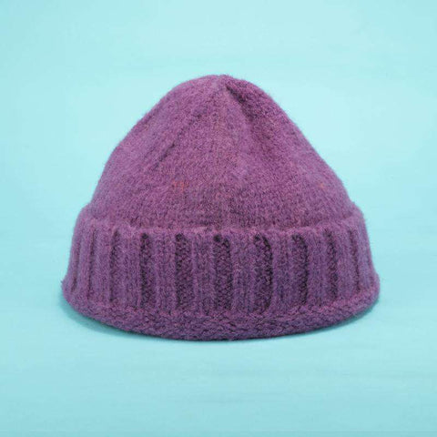 Solid-color Stitch Knit Beanie Hat gallery 6