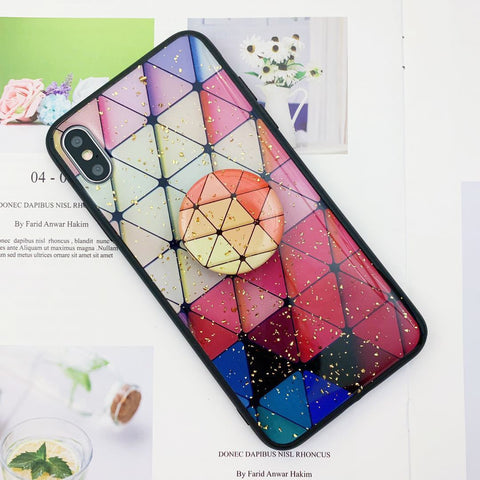 Chic Geometric Blinking Gold Foil Phone Case for Apple iPhone with Phone Holder